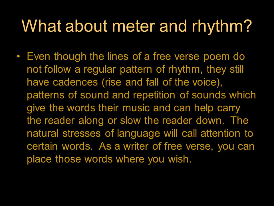 What about meter and rhythm.