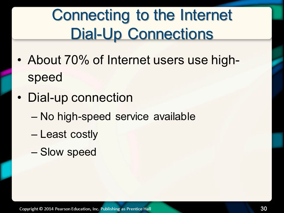 Connecting to the Internet Dial-Up Connections About 70% of Internet users use high- speed Dial-up connection –No high-speed service available –Least costly –Slow speed Copyright © 2014 Pearson Education, Inc.