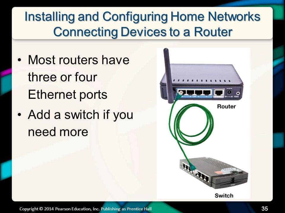 Installing and Configuring Home Networks Connecting Devices to a Router Copyright © 2014 Pearson Education, Inc.