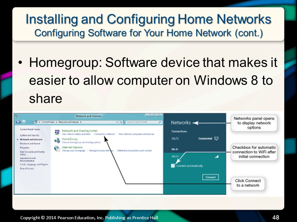 Installing and Configuring Home Networks Configuring Software for Your Home Network (cont.) Homegroup: Software device that makes it easier to allow computer on Windows 8 to share Copyright © 2014 Pearson Education, Inc.