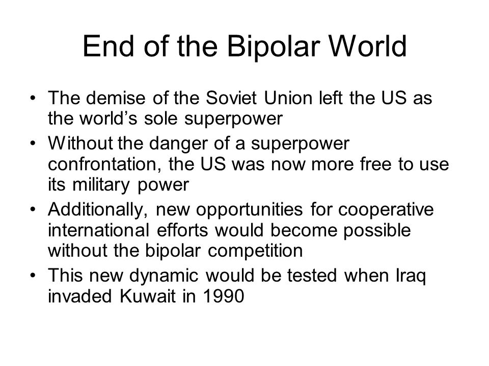 the bi polar world order essay Globalist analysis previous next another bipolar world order (part ii) what is the chief competition that will determine the destiny of the common challenges the world faces — climate change, terrorism, environmental degradation and pandemics — have never been.