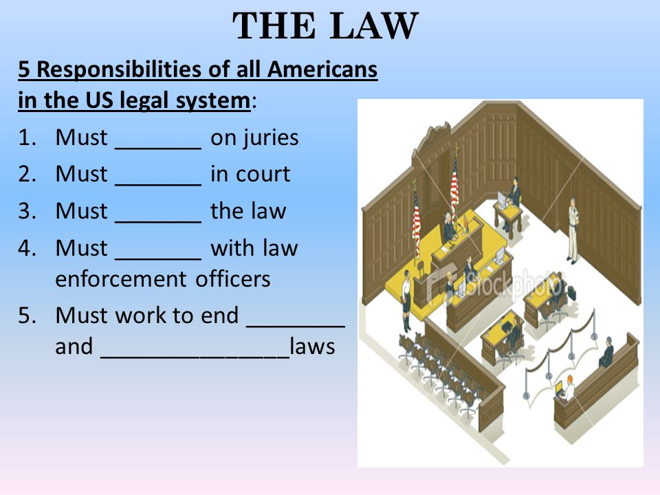 THE LAW 5 Responsibilities of all Americans in the US legal system: 1.Must _______ on juries 2.Must _______ in court 3.Must _______ the law 4.Must _______ with law enforcement officers 5.Must work to end ________ and _______________laws