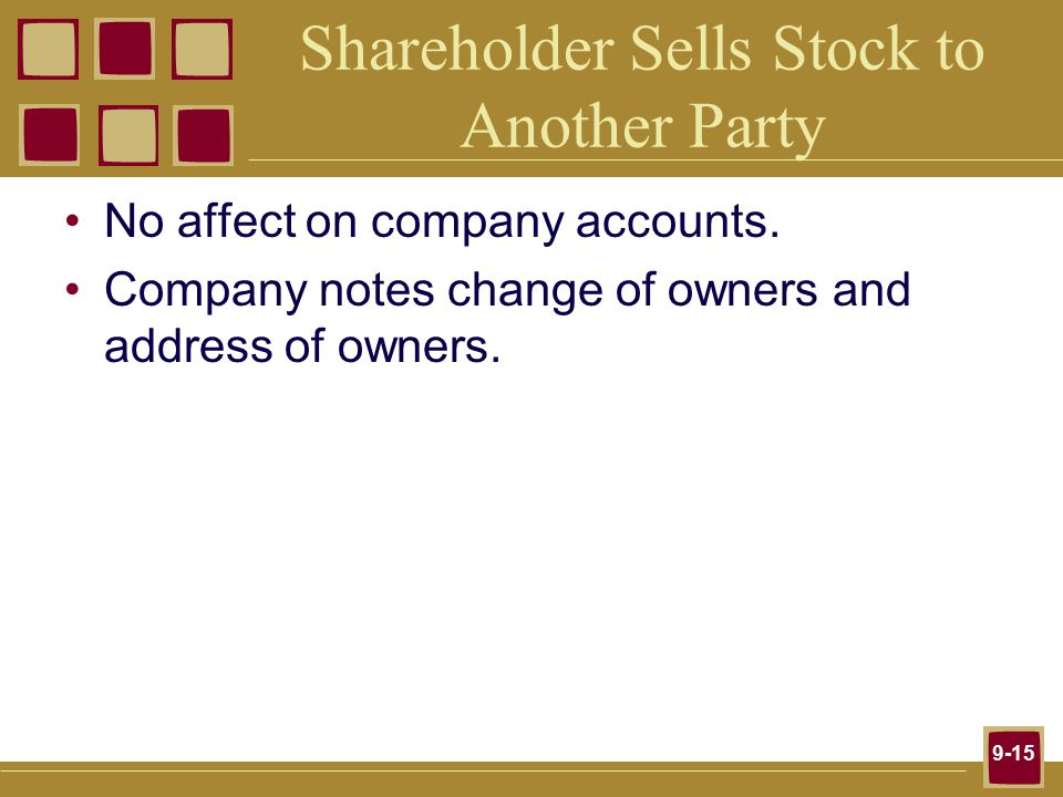 9-15 Shareholder Sells Stock to Another Party No affect on company accounts.