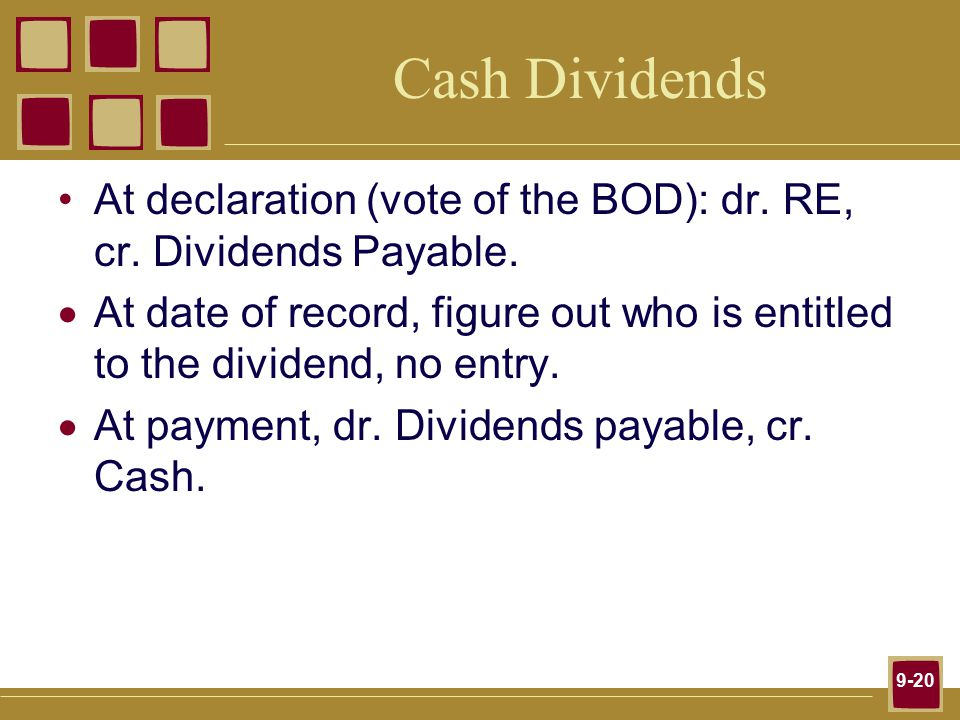 9-20 Cash Dividends At declaration (vote of the BOD): dr.