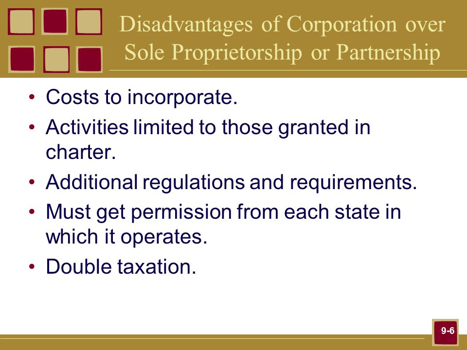 9-6 Disadvantages of Corporation over Sole Proprietorship or Partnership Costs to incorporate.