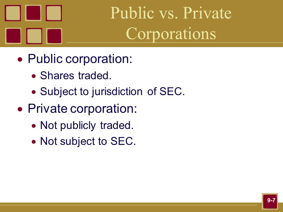 9-7 Public vs. Private Corporations  Public corporation:  Shares traded.