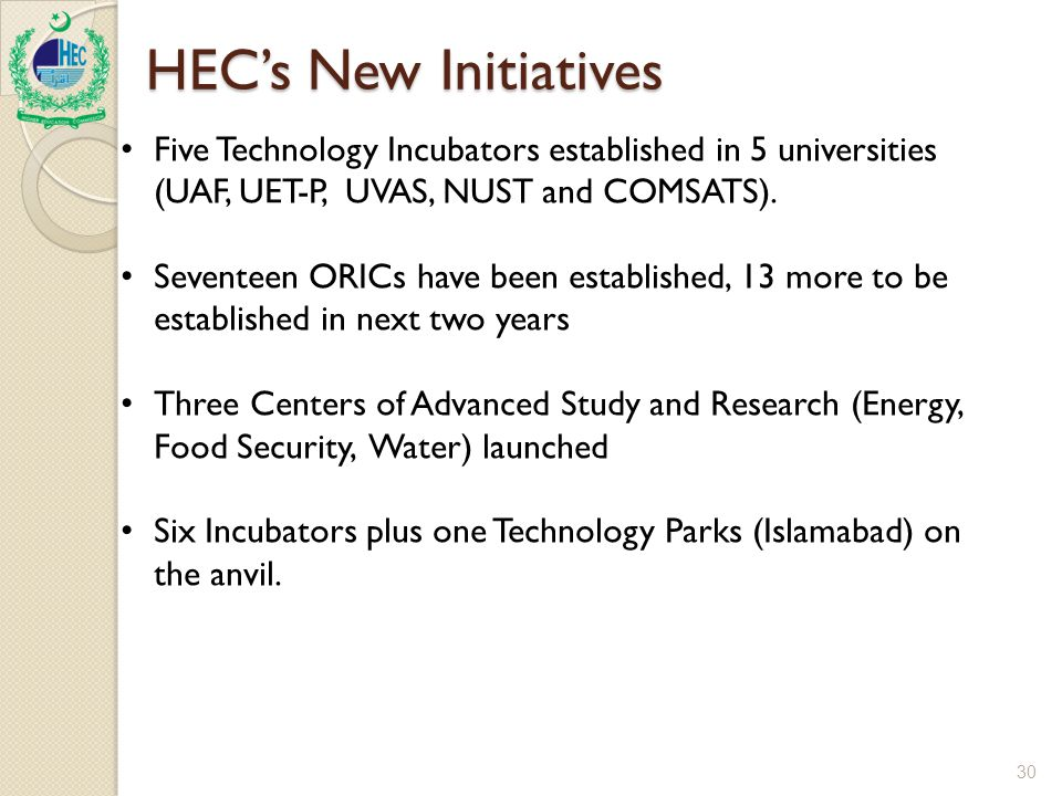 30 HEC's New Initiatives Five Technology Incubators established in 5 universities (UAF, UET-P, UVAS, NUST and COMSATS).