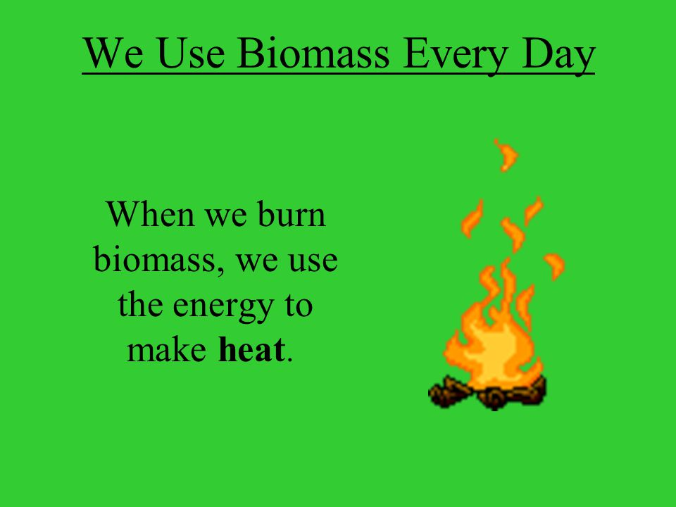 We Use Biomass Every Day When we burn biomass, we use the energy to make heat.