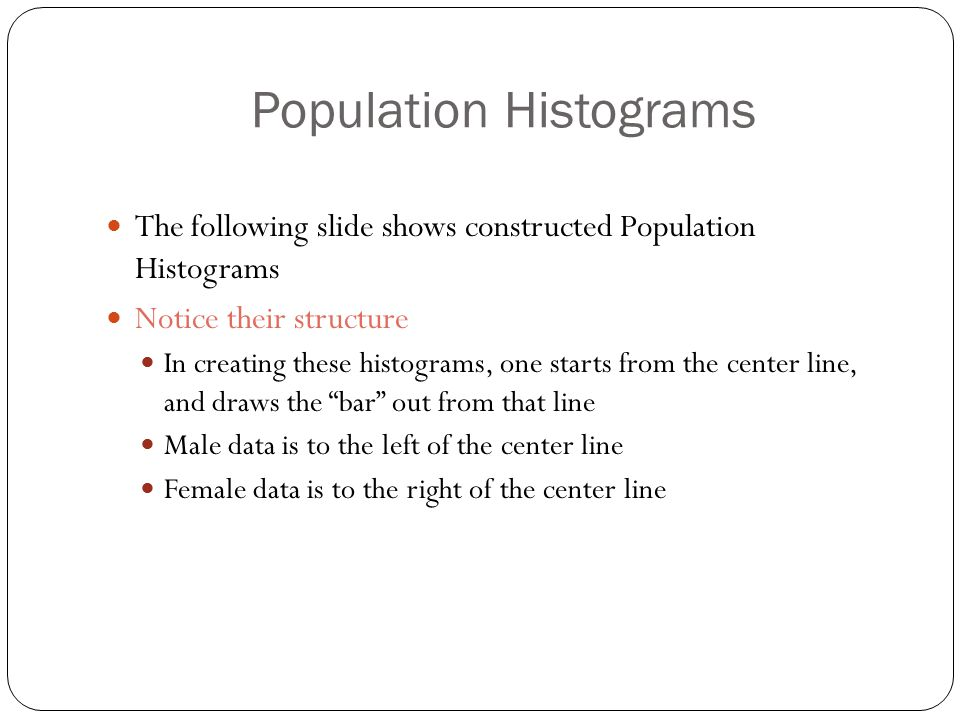 Population Histograms The following slide shows constructed Population Histograms Notice their structure In creating these histograms, one starts from the center line, and draws the bar out from that line Male data is to the left of the center line Female data is to the right of the center line