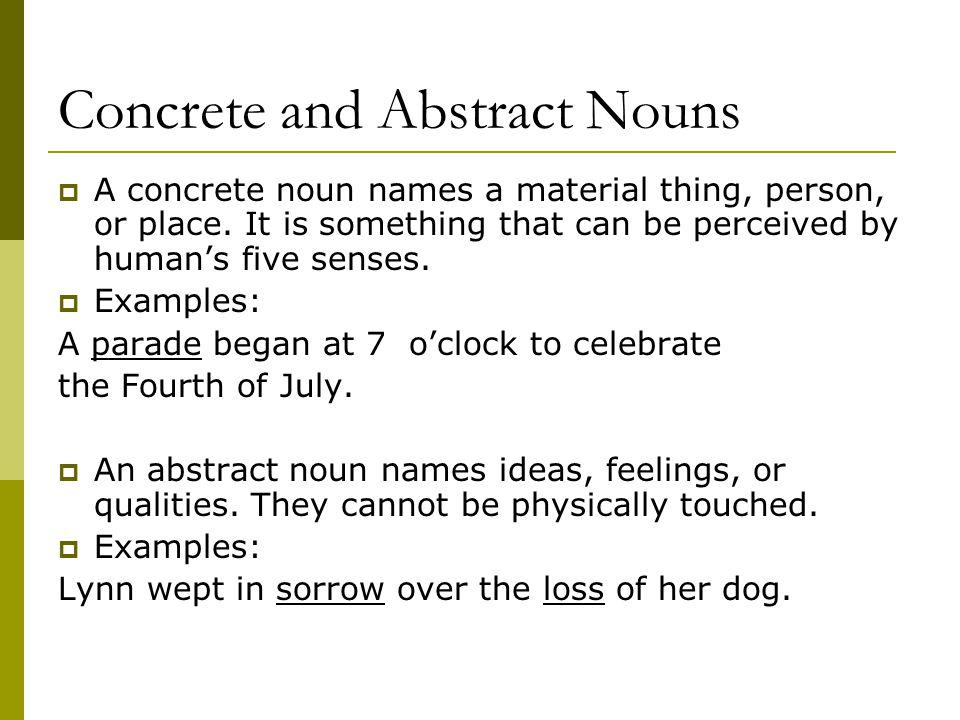 What is a concrete noun? Examples & concrete nouns list.