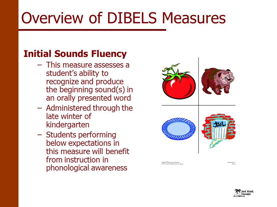 Initial Sounds Fluency –This measure assesses a student's ability to recognize and produce the beginning sound(s) in an orally presented word –Administered through the late winter of kindergarten –Students performing below expectations in this measure will benefit from instruction in phonological awareness Overview of DIBELS Measures