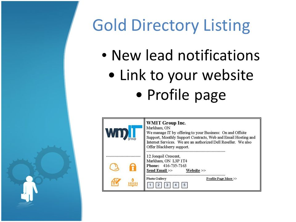 Gold Directory Listing New lead notifications Link to your website Profile page