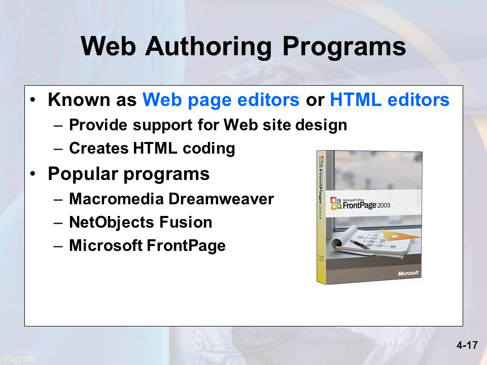 front page programs
