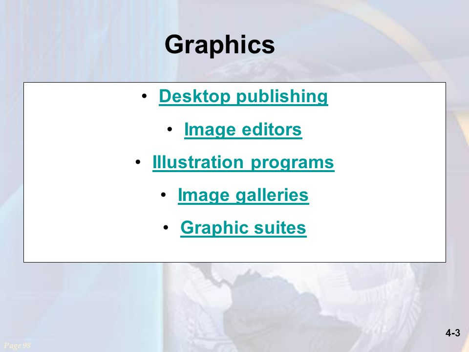 4-3 Graphics Desktop publishing Image editors Illustration programs Image galleries Graphic suites Page 98