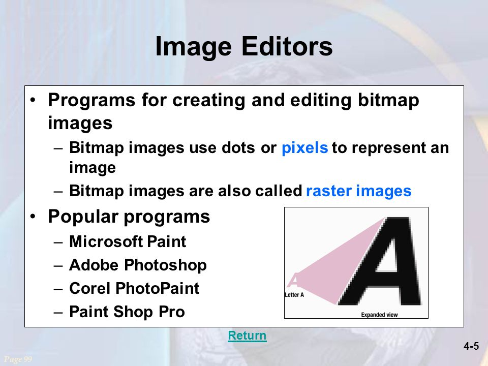 4-5 Image Editors Programs for creating and editing bitmap images –Bitmap images use dots or pixels to represent an image –Bitmap images are also called raster images Popular programs –Microsoft Paint –Adobe Photoshop –Corel PhotoPaint –Paint Shop Pro Page 99 Return