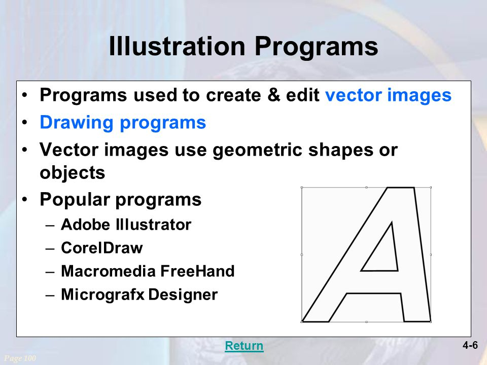 4-6 Illustration Programs Programs used to create & edit vector images Drawing programs Vector images use geometric shapes or objects Popular programs –Adobe Illustrator –CorelDraw –Macromedia FreeHand –Micrografx Designer Page 100 Return