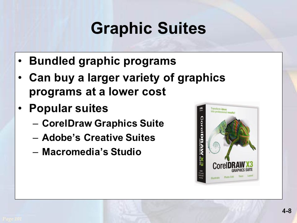 4-8 Graphic Suites Bundled graphic programs Can buy a larger variety of graphics programs at a lower cost Popular suites –CorelDraw Graphics Suite –Adobe's Creative Suites –Macromedia's Studio Page 101