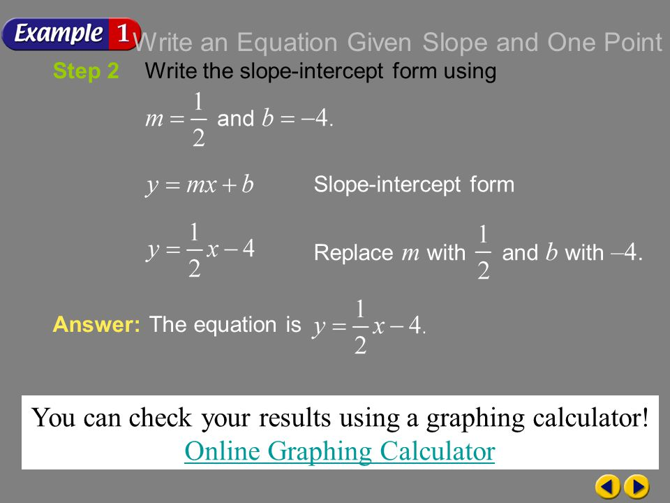 Writing Equations In Slope Intercept Form Online Graphing Calculator