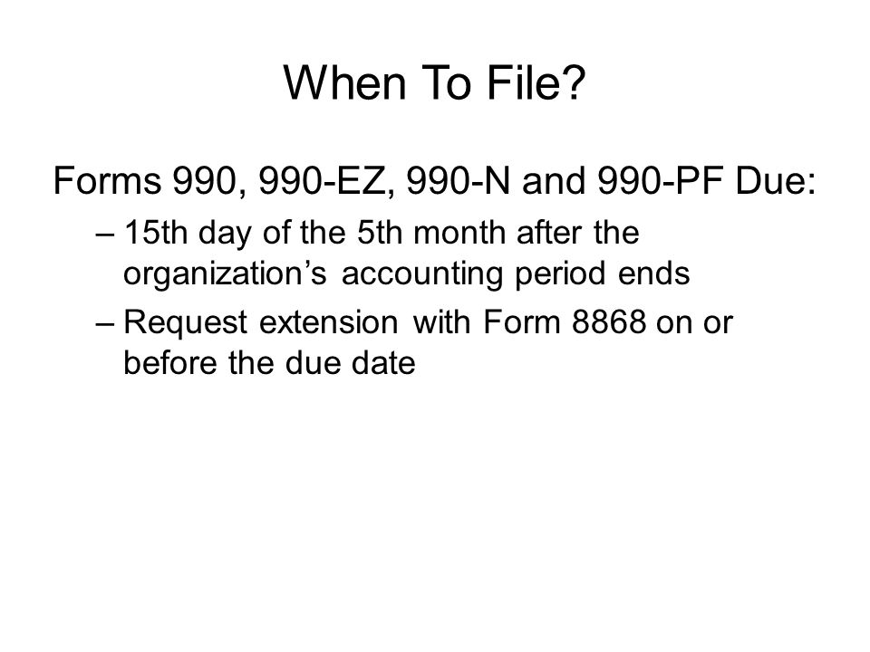 When To File.