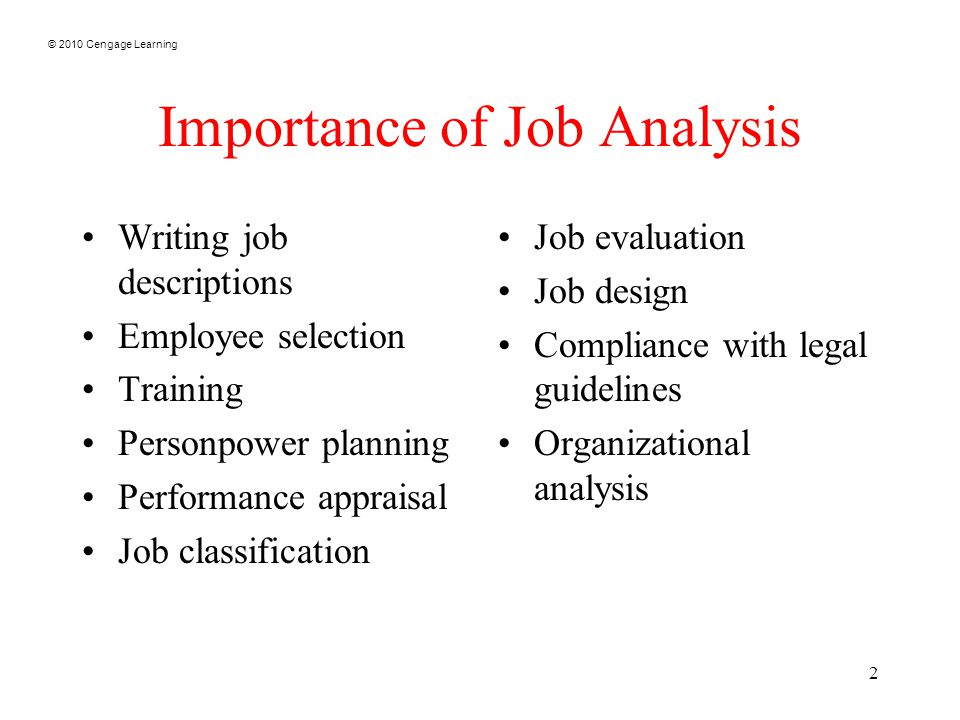 Cengage Learning  Job Analysis   Cengage Learning