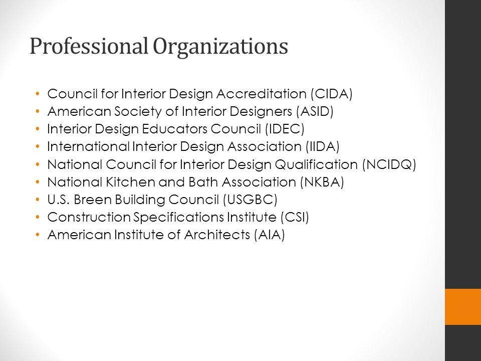 Professional Organizations Council For Interior Design Accreditation (CIDA)  American Society Of Interior Designers (