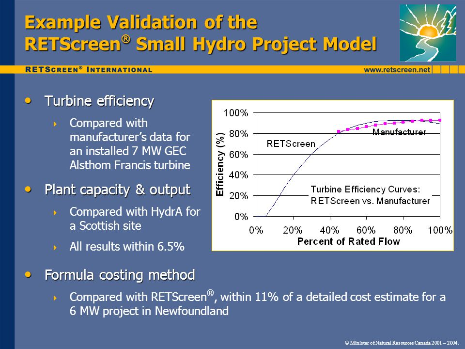 Example Validation of the RETScreen ® Small Hydro Project Model Turbine efficiency Turbine efficiency  Compared with manufacturer's data for an installed 7 MW GEC Alsthom Francis turbine Plant capacity & output Plant capacity & output  Compared with HydrA for a Scottish site  All results within 6.5% Formula costing method Formula costing method  Compared with RETScreen ®, within 11% of a detailed cost estimate for a 6 MW project in Newfoundland © Minister of Natural Resources Canada 2001 – 2004.