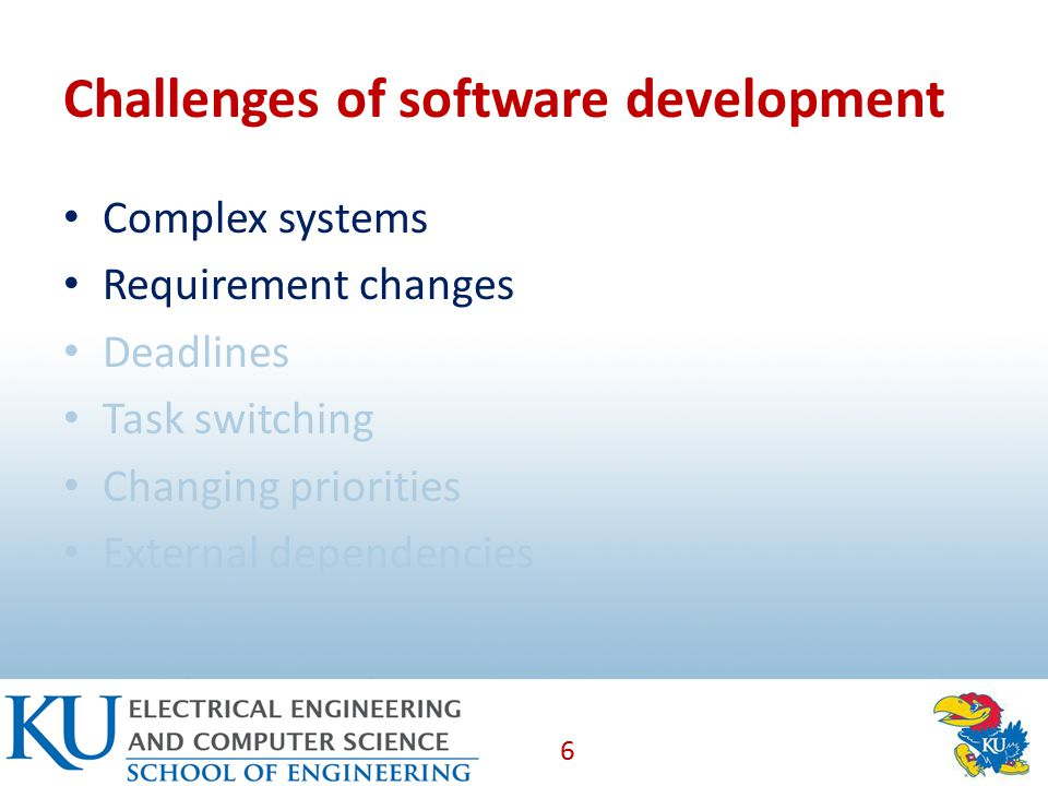 Challenges of software development Complex systems Requirement changes Deadlines Task switching Changing priorities External dependencies 6