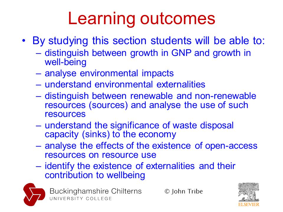 Learning outcomes By studying this section students will be able to: –distinguish between growth in GNP and growth in well-being –analyse environmental impacts –understand environmental externalities –distinguish between renewable and non-renewable resources (sources) and analyse the use of such resources –understand the significance of waste disposal capacity (sinks) to the economy –analyse the effects of the existence of open-access resources on resource use –identify the existence of externalities and their contribution to wellbeing