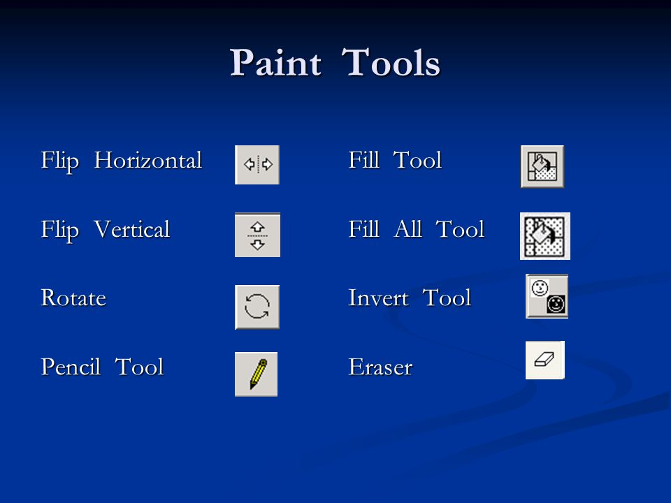 Paint Tools Flip Horizontal Flip Vertical Rotate Pencil Tool Fill Tool Fill All Tool Invert Tool Eraser
