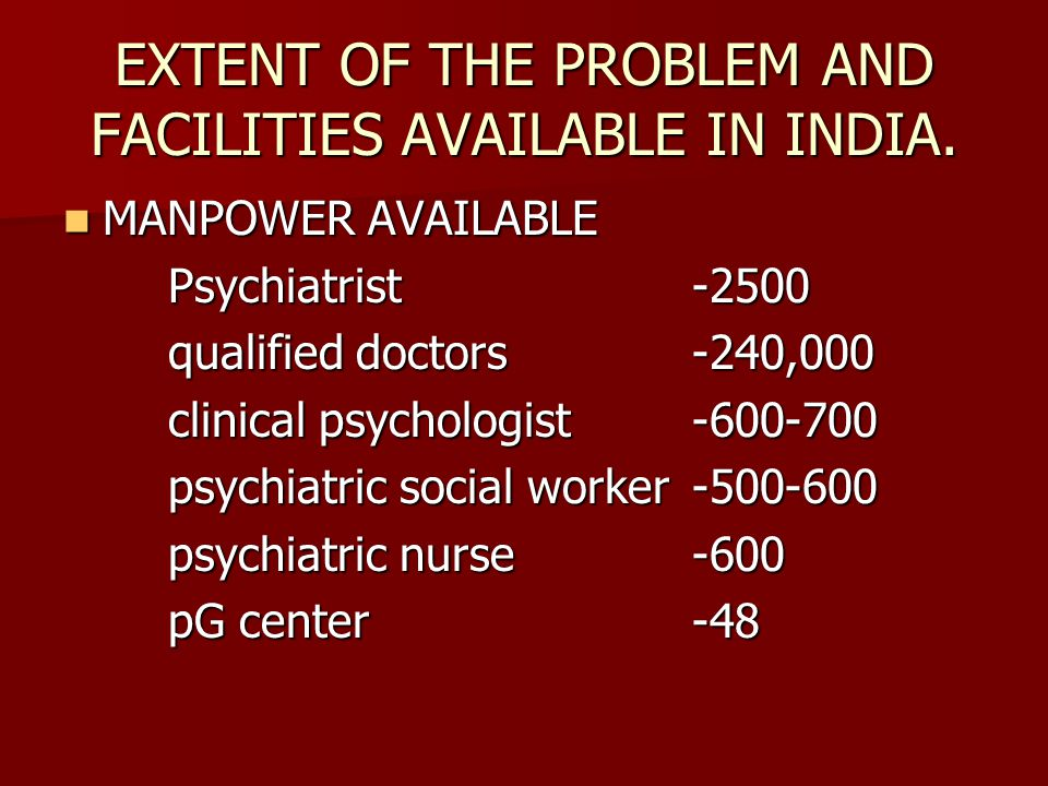 EXTENT OF THE PROBLEM AND FACILITIES AVAILABLE IN INDIA.