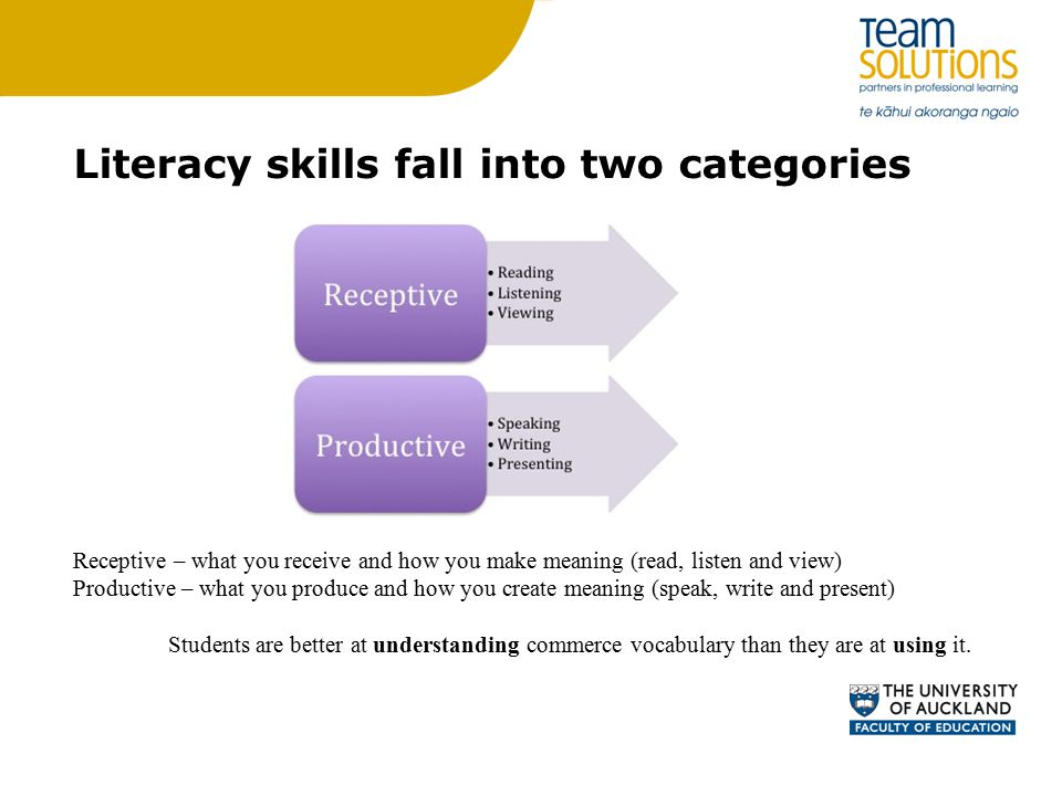 Literacy skills fall into two categories Receptive – what you receive and how you make meaning (read, listen and view) Productive – what you produce and how you create meaning (speak, write and present) Students are better at understanding commerce vocabulary than they are at using it.