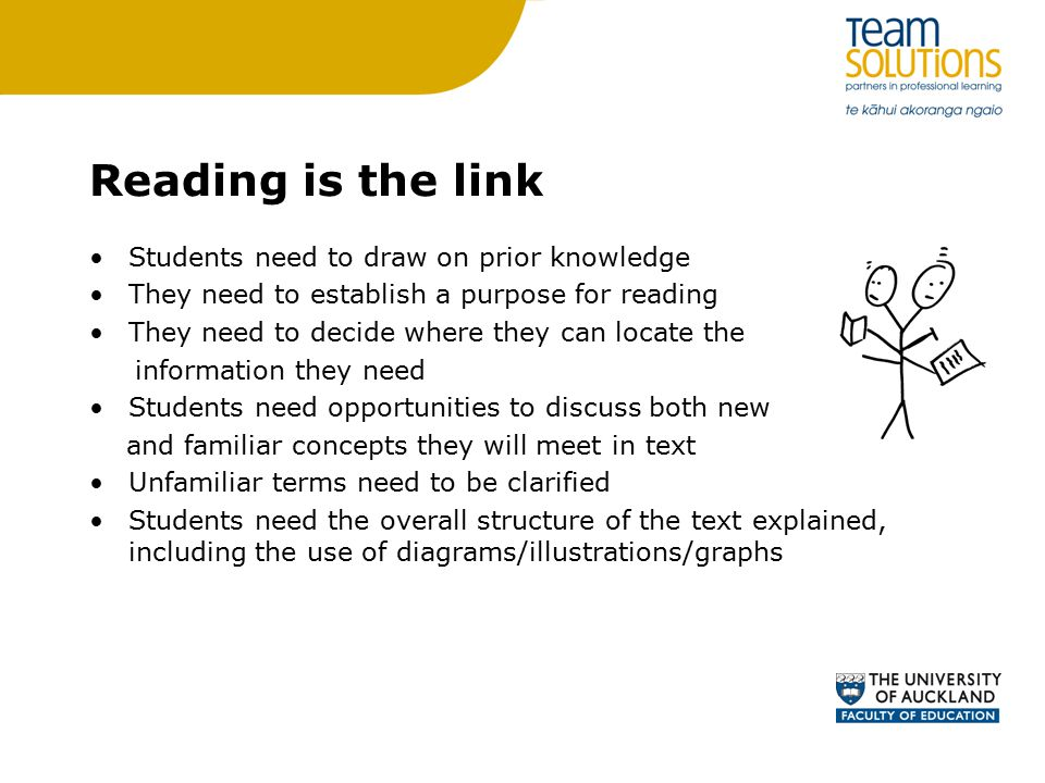 Reading is the link Students need to draw on prior knowledge They need to establish a purpose for reading They need to decide where they can locate the information they need Students need opportunities to discuss both new and familiar concepts they will meet in text Unfamiliar terms need to be clarified Students need the overall structure of the text explained, including the use of diagrams/illustrations/graphs