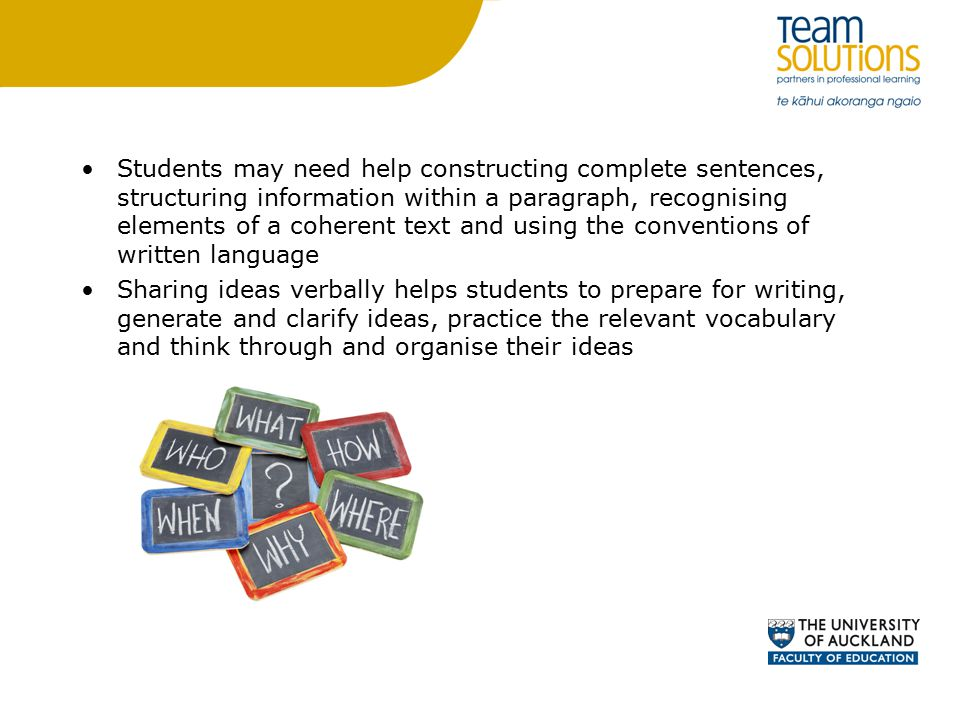 Students may need help constructing complete sentences, structuring information within a paragraph, recognising elements of a coherent text and using the conventions of written language Sharing ideas verbally helps students to prepare for writing, generate and clarify ideas, practice the relevant vocabulary and think through and organise their ideas