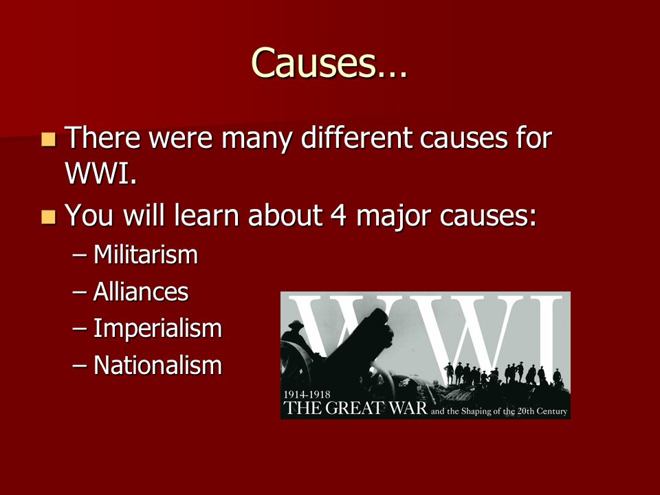 Causes… There were many different causes for WWI. - ppt download