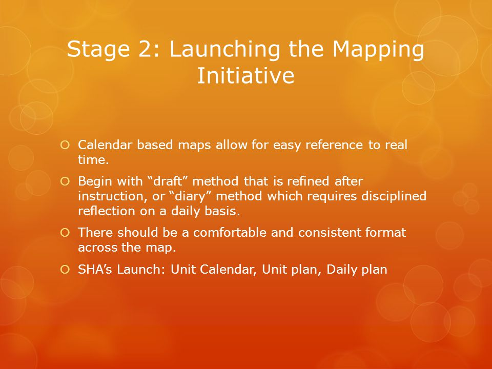 Stage 2: Launching the Mapping Initiative  Calendar based maps allow for easy reference to real time.