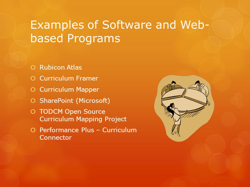 Examples of Software and Web- based Programs  Rubicon Atlas  Curriculum Framer  Curriculum Mapper  SharePoint (Microsoft)  TODCM Open Source Curriculum Mapping Project  Performance Plus – Curriculum Connector