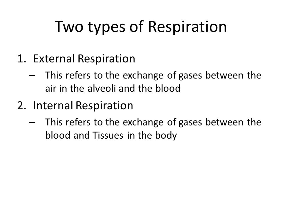 Two types of Respiration 1.External Respiration – This refers to the exchange of gases between the air in the alveoli and the blood 2.Internal Respiration – This refers to the exchange of gases between the blood and Tissues in the body