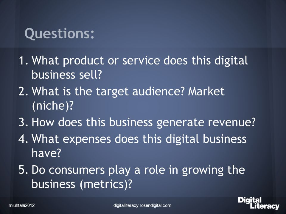Vocabulary And Comparing Digital Businesses Creating A Digital - Digital business plan template