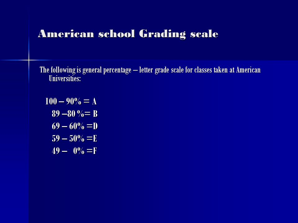 American school Grading scale The following is general percentage – letter grade scale for classes taken at American Universities: The following is general percentage – letter grade scale for classes taken at American Universities: 100 – 90% = A 100 – 90% = A 89 –80 %= B 89 –80 %= B 69 – 60% =D 69 – 60% =D 59 – 50% =E 59 – 50% =E 49 – 0% =F 49 – 0% =F