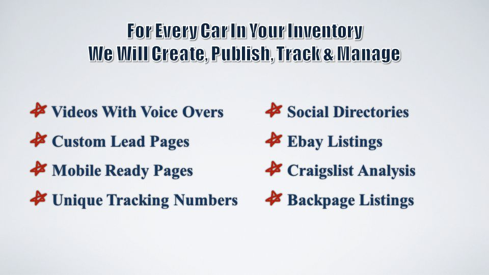 Videos With Voice Overs Videos With Voice Overs Custom Lead Pages Custom Lead Pages Mobile Ready Pages Mobile Ready Pages Unique Tracking Numbers Unique Tracking Numbers Social Directories Social Directories Ebay Listings Ebay Listings Craigslist Analysis Craigslist Analysis Backpage Listings Backpage Listings