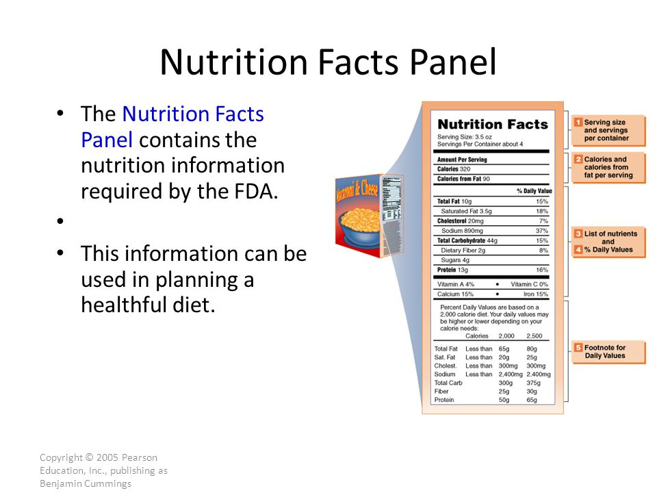 Copyright © 2005 Pearson Education, Inc., publishing as Benjamin Cummings Nutrition Facts Panel The Nutrition Facts Panel contains the nutrition information required by the FDA.
