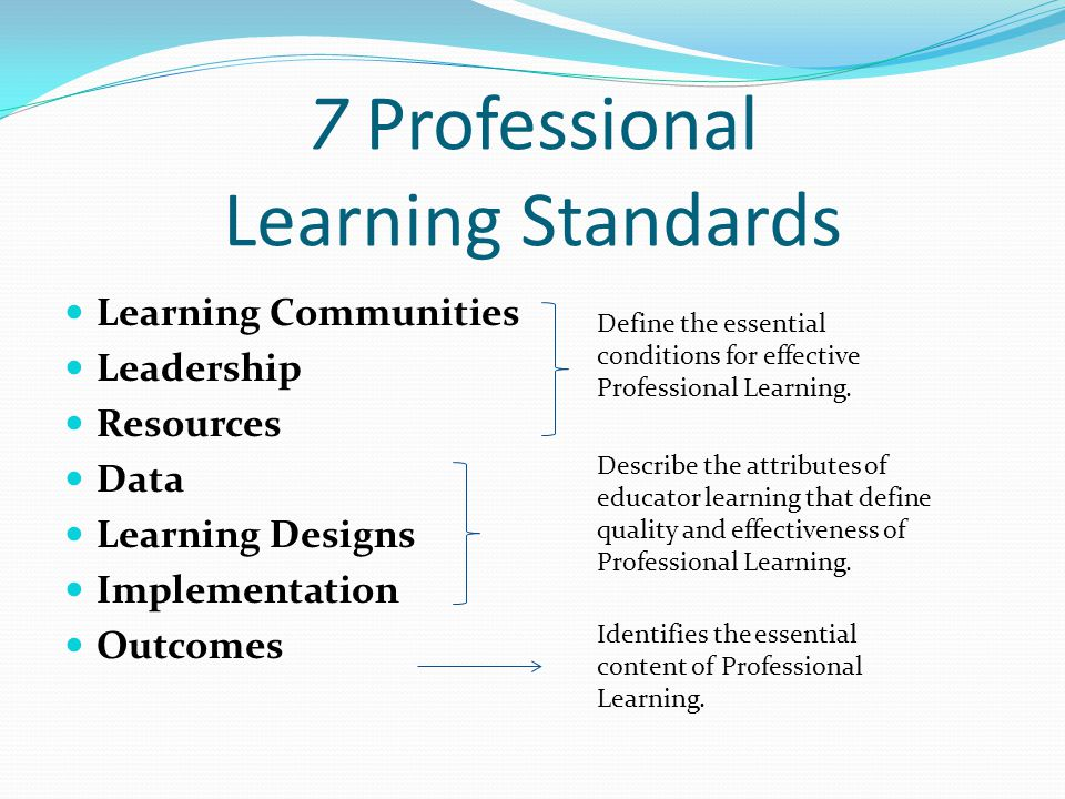 7 Professional Learning Standards Learning Communities Leadership Resources Data Learning Designs Implementation Outcomes Define the essential conditions for effective Professional Learning.