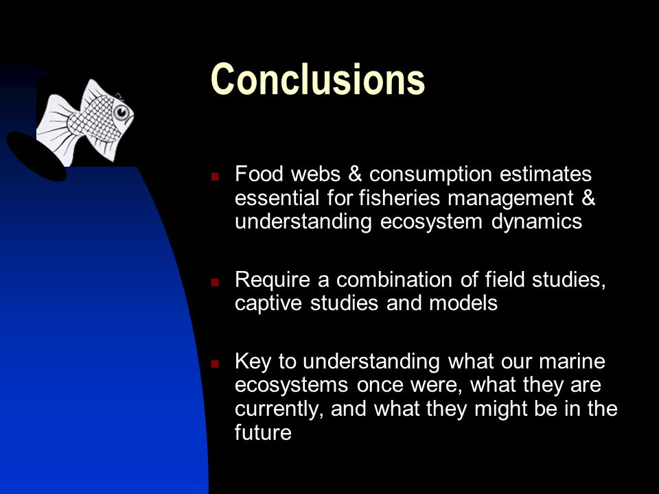 Conclusions Food webs & consumption estimates essential for fisheries management & understanding ecosystem dynamics Require a combination of field studies, captive studies and models Key to understanding what our marine ecosystems once were, what they are currently, and what they might be in the future