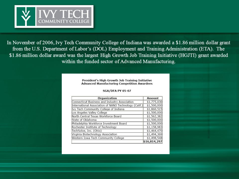 In November of 2006, Ivy Tech Community College of Indiana was awarded a $1.86 million dollar grant from the U.S.