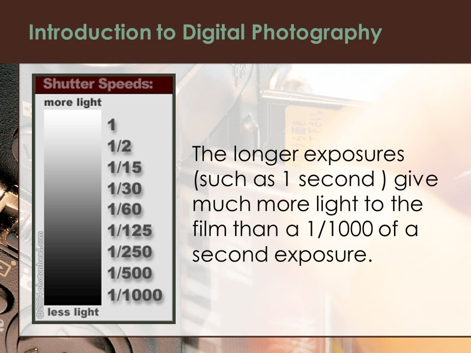 Introduction to Digital Photography The longer exposures (such as 1 second ) give much more light to the film than a 1/1000 of a second exposure.