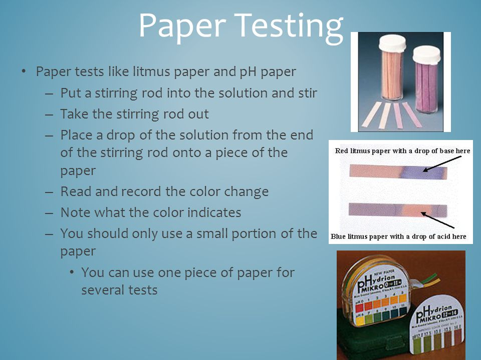 acids turn litmus paper A detailed guide on how to make litmus paper using red cabbage to test whether substances are acidic or basic bases turn green or blue whilst acids turn it red.