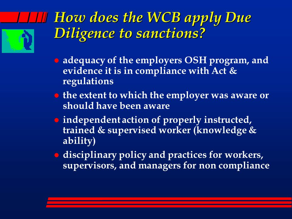 How does the WCB apply Due Diligence to sanctions.