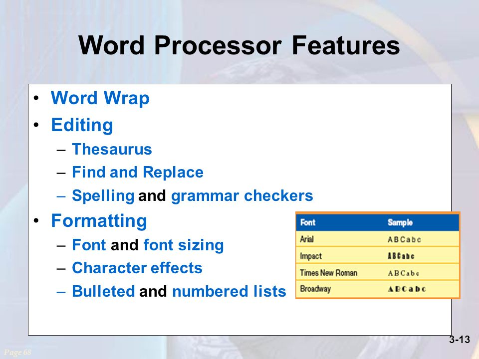 3-13 Word Processor Features Word Wrap Editing –Thesaurus –Find and Replace –Spelling and grammar checkers Formatting –Font and font sizing –Character effects –Bulleted and numbered lists Page 68