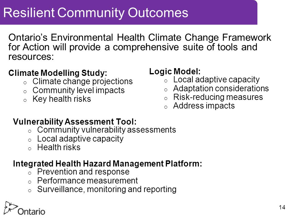 14 Resilient Community Outcomes Ontario's Environmental Health Climate Change Framework for Action will provide a comprehensive suite of tools and resources: Climate Modelling Study: o Climate change projections o Community level impacts o Key health risks Vulnerability Assessment Tool: o Community vulnerability assessments o Local adaptive capacity o Health risks Integrated Health Hazard Management Platform: o Prevention and response o Performance measurement o Surveillance, monitoring and reporting Logic Model: o Local adaptive capacity o Adaptation considerations o Risk-reducing measures o Address impacts