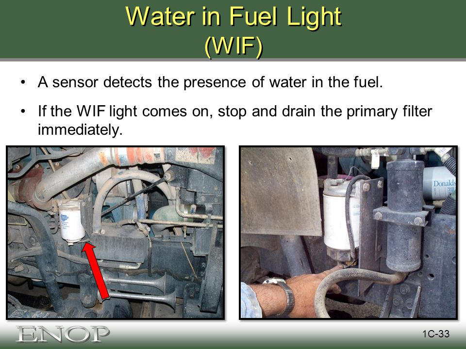 Water in Fuel Light (WIF) A sensor detects the presence of water in the fuel.